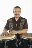 Hispanic Bongo Drum Player — Stockfoto