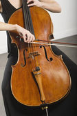 Woman Bowing A Cello — Stock Photo