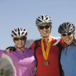Female Cyclists Celebrating Victory — Stock Photo #21927899