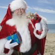 Father Christmas Stands With His Sack On Beach — Stock Photo #21928581