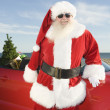 Father Christmas By Convertible With Christmas Tree — Stock Photo