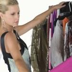 Model Choosing Dress — Stock Photo