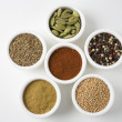 Different Types Of Spices In Arranged In Bowls - Foto Stock