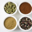 Different Types Of Spices Arranged In Bowls - Foto Stock