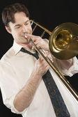 Man Playing Trombone — 图库照片