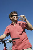 Male Cyclist Drinking Water — Stock Photo
