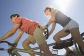 Caucasian Couple Riding Tandem Bicycle — Stock Photo