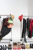 Trendy Footwear And Hats With Accessories On Clothes Rail — Stock Photo