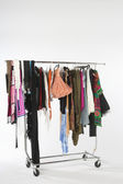Fashion Clothes Hanging On Clothes Rail — Stock Photo