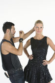 Hair Stylist Styling Female Model's Hair — Zdjęcie stockowe