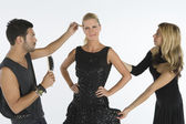 Fashion Model With Two Artist Assisting Her — Stock Photo