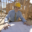 Site Manager With Building Plans — Stock Photo