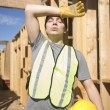 Laborer exhausted on site — Stock Photo
