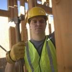 Labourer Works On Building Construction — Stock Photo #21930123