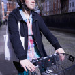 Woman Riding Bicycle On Street — Stock Photo