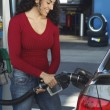 Stock Photo: WomPumping Gas Into Car