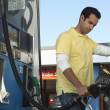 Man Refueling Car At Station — Stock Photo