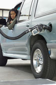 Woman Refueling Car At Station — Stock Photo