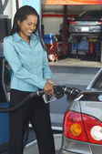 Businesswoman Refueling Car — Stock Photo