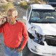 Senior MOn Call With Damaged Car In Background — Stock Photo #21940159