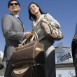 Stock Photo: Business Couple Standing At Airfield