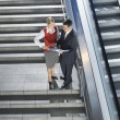Businesspeople Discussing Work On Stairs — Stock Photo