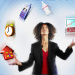 Businesswoman Juggling Responsibilities — Stock Photo