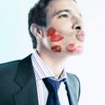 Flirtatious Businessman Puckering — Stock Photo