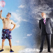 Businessman Imagining Summer Vacation At Beach — Stock Photo