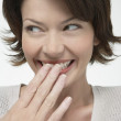 Woman Hiding Her Smile — Stock Photo