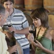 Tasting Wine Beside Wine Casks — Stock Photo