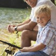 Little Boy Fishing With Grandfather — Stock Photo