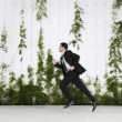 Businessman Running Outdoors — 图库照片