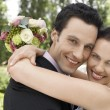 Newly Married Couple Embracing — Stock Photo