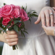 Bride Showing Wedding Ring - Stock Photo
