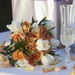 Stock Photo: Bouquet With Champagne Flute and Gifts
