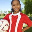 Girl Standing With Soccer Ball — Stock Photo #21947441