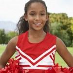 Girl Cheerleader On Soccer Field — Stock Photo