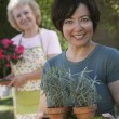 Woman Holding Potted Plants — Stock Photo