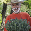 Senior Man Holding Potted Plant — Stock Photo