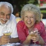 Happy Couple With Wine Glasses — Stock Photo