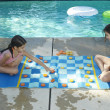 Girls Playing Large Draughts Board — Stock Photo