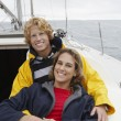 Young Couple On Sailboat — Stock Photo