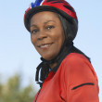 Woman Wearing Cycling Helmet — Stock Photo