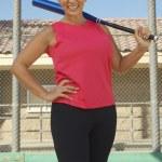 Woman Holding Baseball Bat — Stock Photo