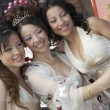 Quinceanera Taking Self Portrait With Friends — Stock Photo