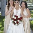 Quinceanera Standing With Female Friends — Stock Photo