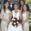 Quinceanera Standing With Parents And Friends In Lawn - Stock Photo
