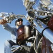 Biker Riding Motorcycle Against Clear Sky — Stock Photo