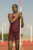 Pole Vaulter Standing With Pole — Stock Photo